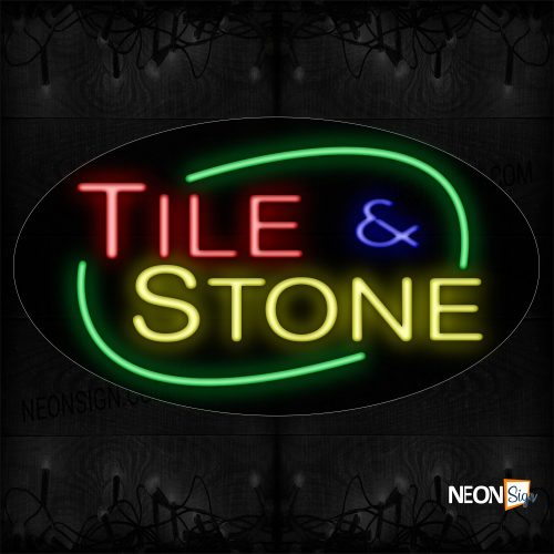 Image of 14562 Tile & Stone With Arc Border Neon Sign_17x30 Contoured Black Backing