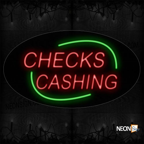 Image of 14577 Check Cashing In Red With Green Arc Border Neon Sign_17x30 Contoured Black Backing