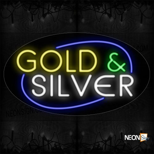Image of 14590 Gold And Silver With All Caps And Ellipse Blue Traditional Neon_17x30 Contoured Black Backing