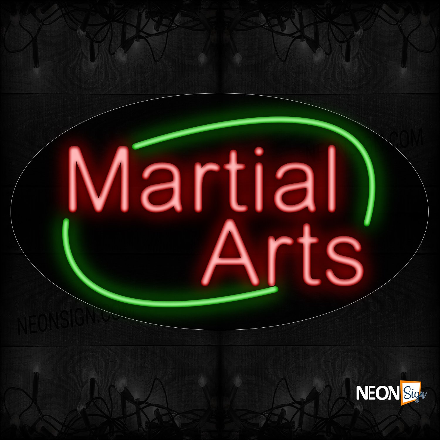 Image of 14596 Martial Arts With Green Arc Border Neon Sign_17x30 Contoured Black Backing