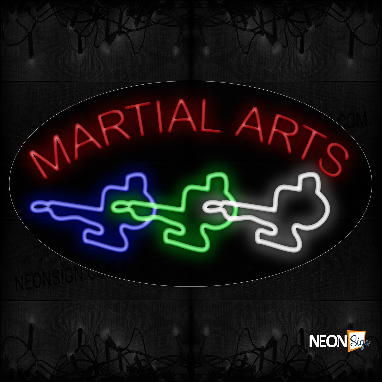 Image of 14597 Martial Arts With Colorful Logo Neon Sign_17x30 Contoured Black Backing