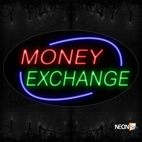 Image of 14599 Money Exchange With Blue Arc Border Neon Sign _17x30 Contoured Black Backing