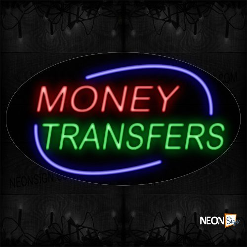 Image of 14600 Money Transfers With Blue Arc Border Neon Sign_17x30 Contoured Black Backing