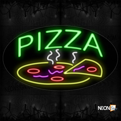 Image of 14601 Pizza With Logo Neon Sign_17x30 Contoured Black Backing