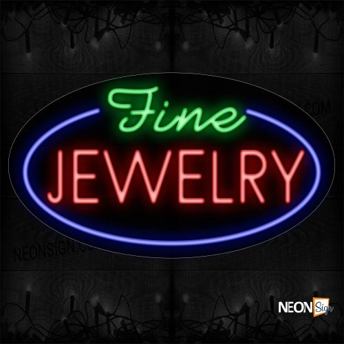 Image of 14623 Fine Jewelry With Blue Oval Border Neon Sign_17x30 Contoured Black Backing