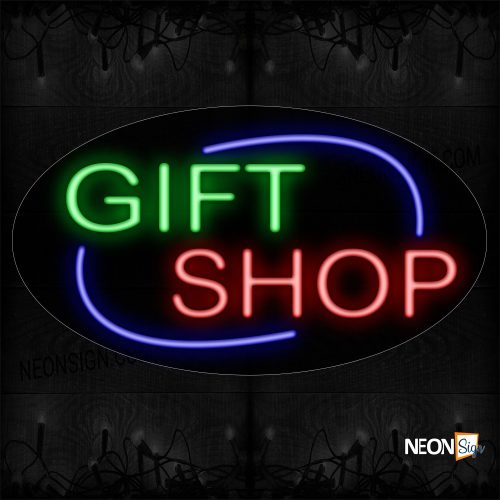 Image of 14627 Gift Shop With Arc Border Neon Sign_17x30 Contoured Black Backing