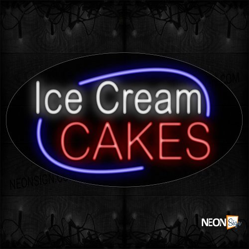 Image of 14631 Ice Cream Cakes With Blue Arc Border Neon Sign_17x30 Contoured Black Backing