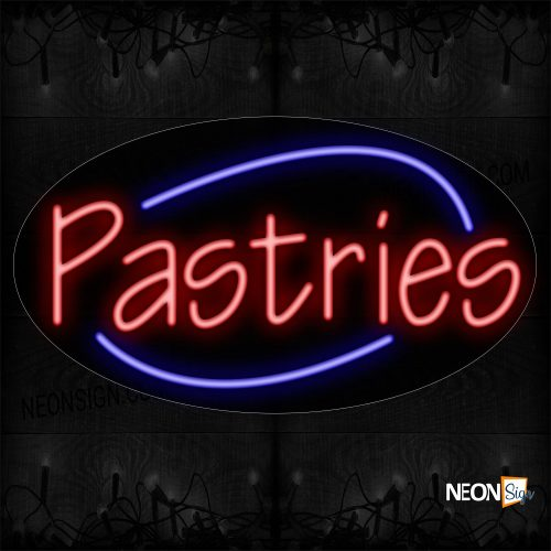 Image of 14638 Pastries With Arc Border Neon Sign_17x30 Contoured Black Backing