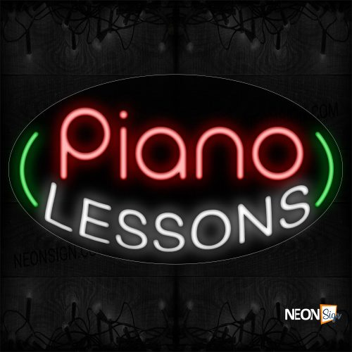 Image of 14640 Piano Lessons With Curve Border Neon Sign_17x30 Countoured Black Backing