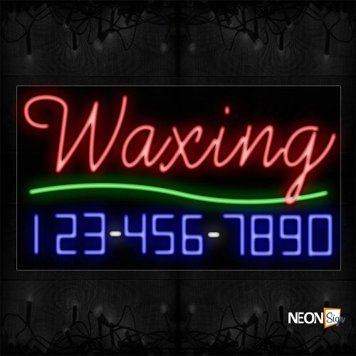 Image of 15015 Waxing And Phone Number With Green Line Neon Signs_20x37 Black Backing