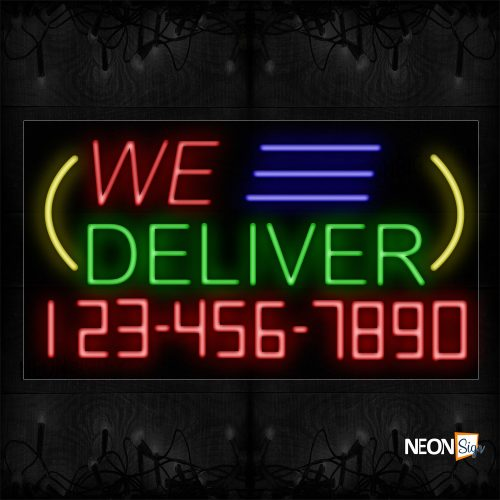 Image of 15025 We Deliver And Phone Number With Blue Lines And Yellow Arc Border Neon Signs_20x37 Black Backing