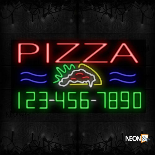 Image of 15032 Pizza And Phone Number With Logo Neon Sign_20x37 Black Backing