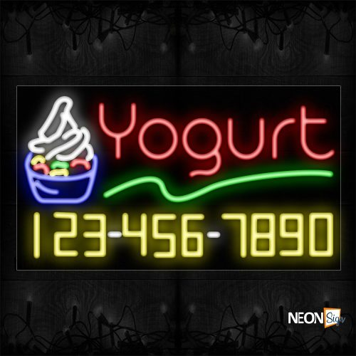 Image of 15036 Yogurt And Phone Number With Green Line And Cupcake Neon Sign_20x37 Black Backing