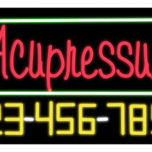 Image of 15037 acupressure with telephone number green border neon sign