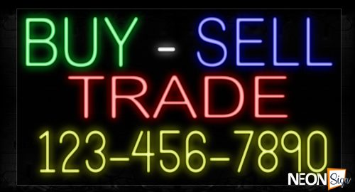 Image of 15053 By-Sell Trade And Phone Number Neon Signs_20x37 Black Backing