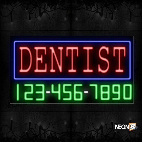 Image of 15062 Dentist And Phone Number With Blue Border Neon Sign_20x37 Black Backing