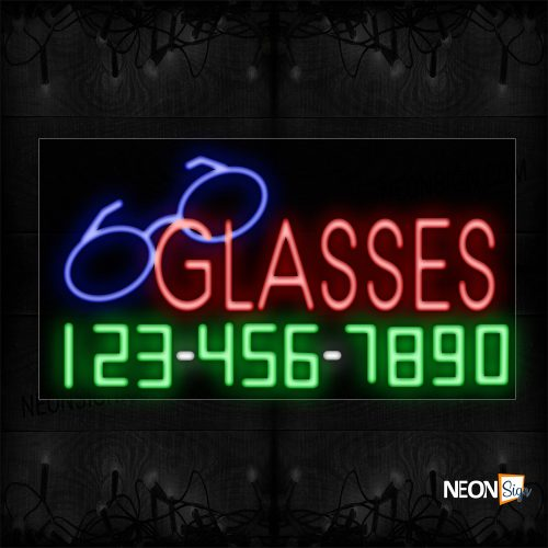 Image of 15068 Glasses And Phone Number With Logo Neon Sign_20x37 Black Backing