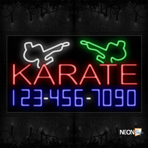 Image of 15075 Karate And Phone Number With Logo Neon Sign_20x37 Black Backing