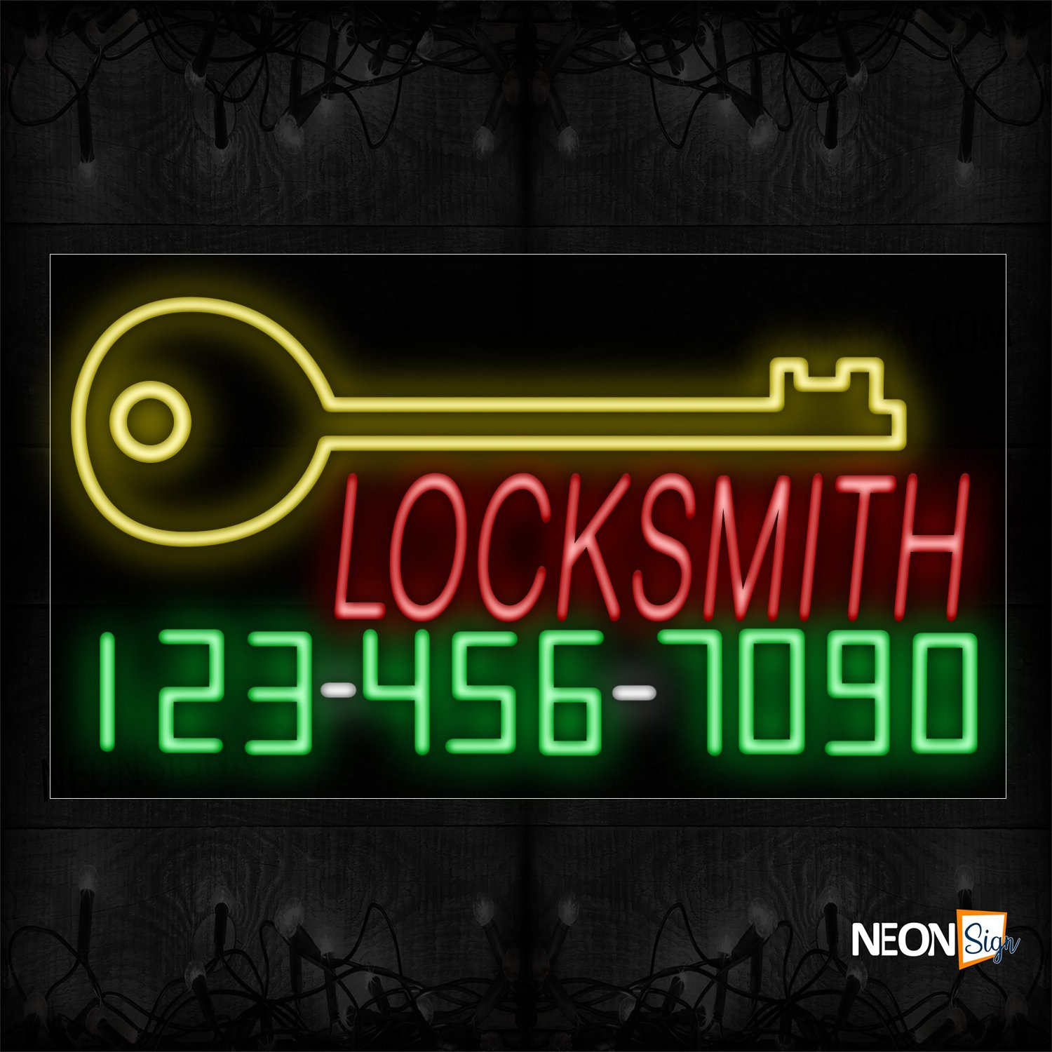 Image of 15078 Locksmith With Key Sign Logo & Contact No Neon Sign_20x37 Black Backing