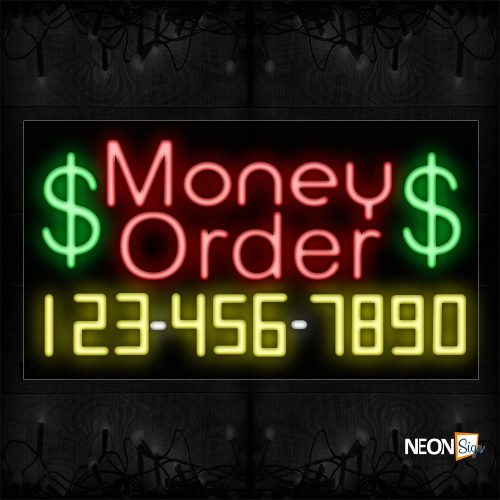 Image of 15081 $ Money Order $ And Phone Number Neon Sign_20x37 Black Backing