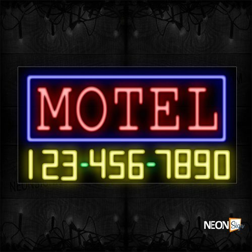 Image of 15083 Motel And Phone Number With Blue Border Neon Sign_20x37 Black Backing