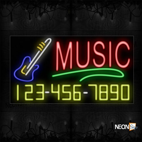 Image of 15084 Music And Phone Number With Green Line And Guitar Logo Neon Sign_20x37 Black Backing