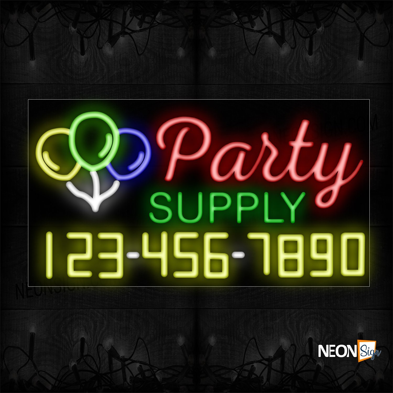Image of 15090 Party Supply And Phone Number With Logo Neon Sign_20x37 Black Backing