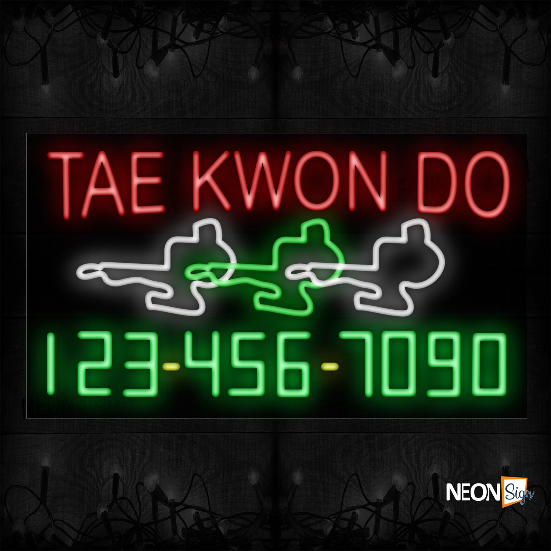 Image of 15103 Taekwondo And Phone Number With Logo Neon Sign_20x37 Black Backing