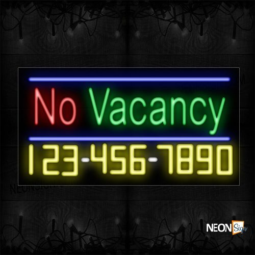 Image of 15116 No Vacancy And Phone Number With Blue Lines Neon Sign_20x37 Black Backing