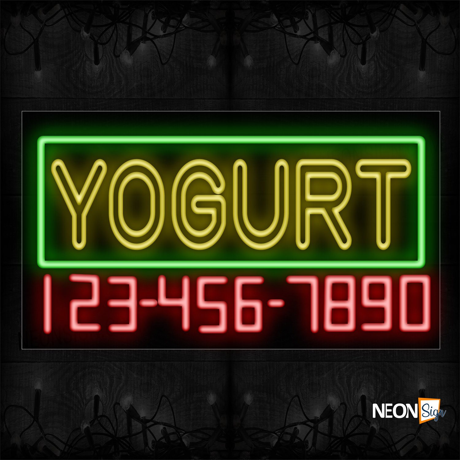 Image of 15119 Double Stroke Yogurt And Phone Number With Green Border_20x37 Black Backing