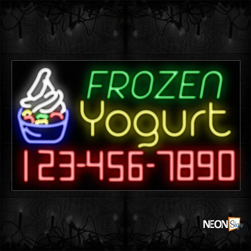 Image of 15120 Frozen Yogurt And Phone Number With Logo Neon Sign_20x37 Black Backing