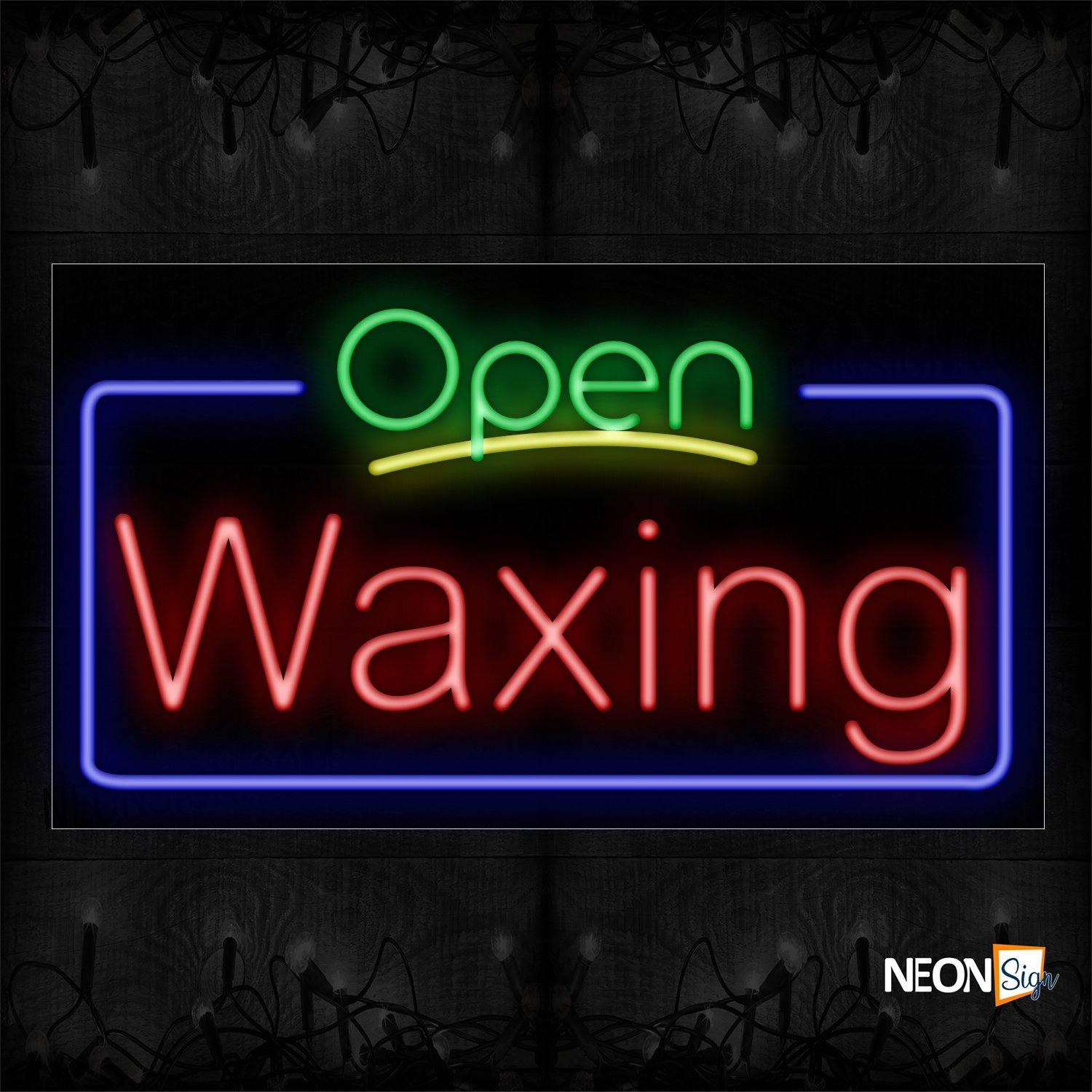 Image of 15414 Open Waxing With Blue Box And Yellow Underline Traditional Neon_20x37 Black Backing
