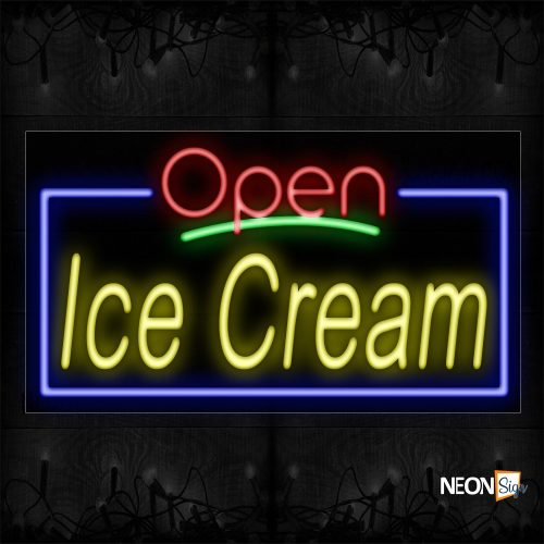 Image of 15433 Open Ice Cream With Blue Border Neon Sign_20x37 Black Backing