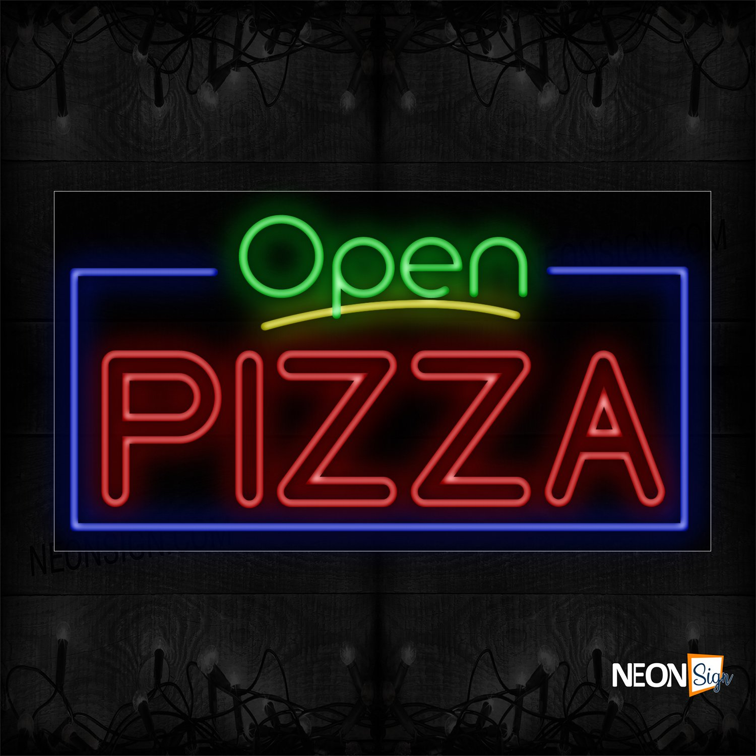 Image of 15436 Open Pizza With Border Neon Sign_20x37 Black Backing
