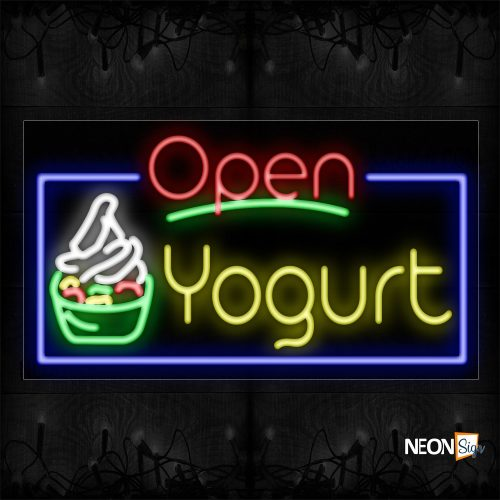 Image of 15441 Open Yogurt With Blue Border And Logo Neon Sign_20x37 Black Backing