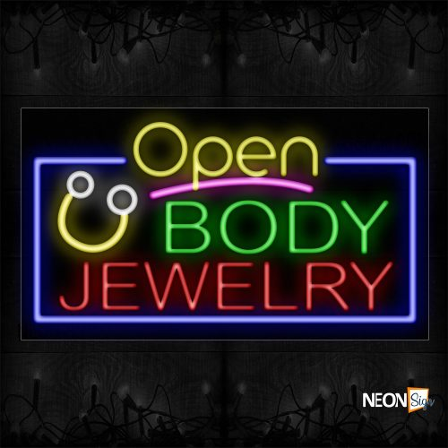 Image of 15467 Open Body Jewelry with blue border Neon Signs_20x37 Black Backing