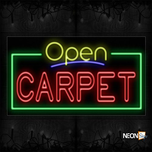 Image of 15481 Open Carpet With Border Neon Sign_20x37 Black Backing