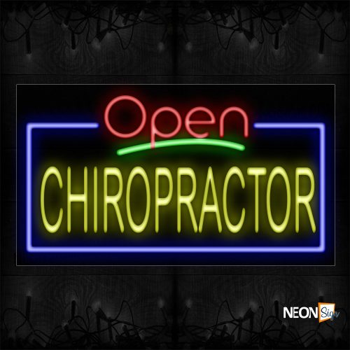 Image of 15484 Open Chiropractor with blue border Neon Signs_20x37 Black Backing