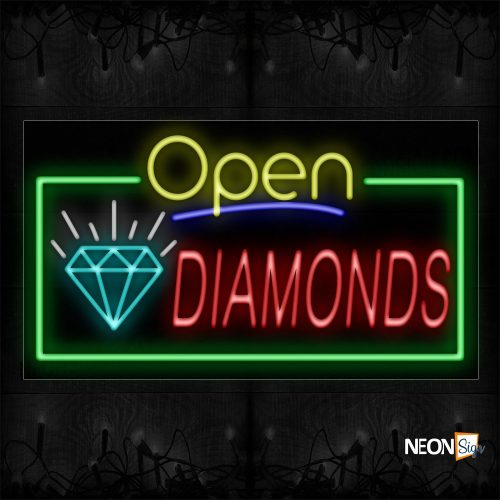 Image of 15495 Open Diamonds With Logo And Green Border Neon Sign_20x37 Black Backing