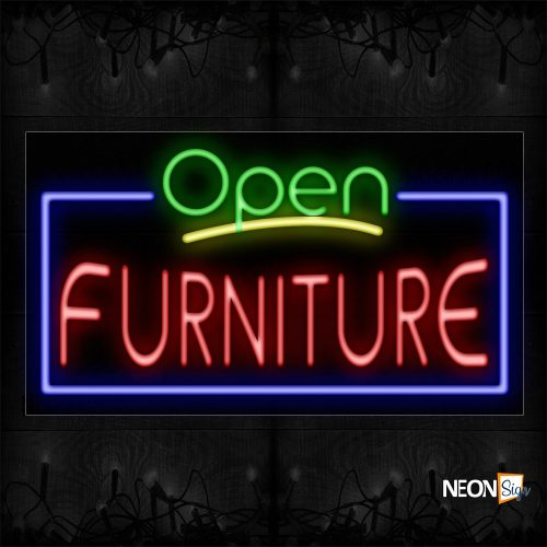 Image of 15504 Open Furniture with blue border Neon Signs_20x37 Black Backing