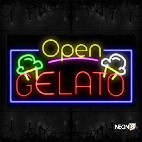Image of 15507 Open Gelato With Logo And Blue Border Neon Sign_20x37 Black Backing