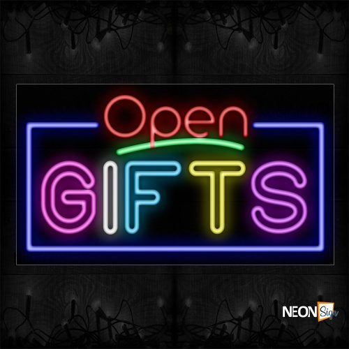 Image of 15508 open gifts with blue border led Neon Signs_20x37 Black Backing
