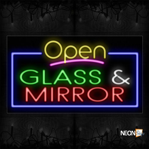 Image of 15509 Open Glass & Mirror with blue border Neon Signs_20x37 Black Backing
