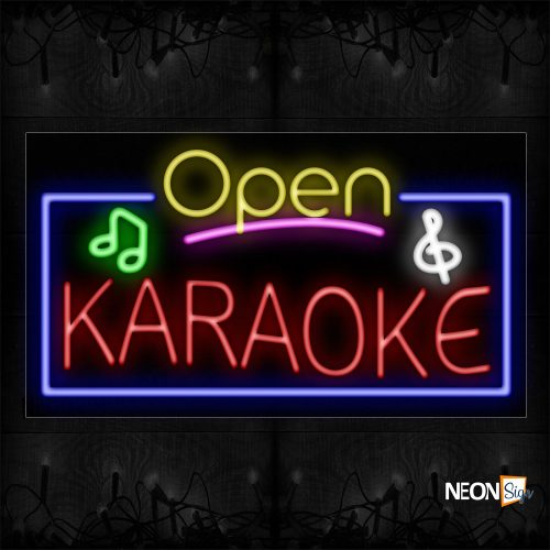 Image of 15526 Open Karaoke with blue border and log Neon Signs_20x37 Black Backing