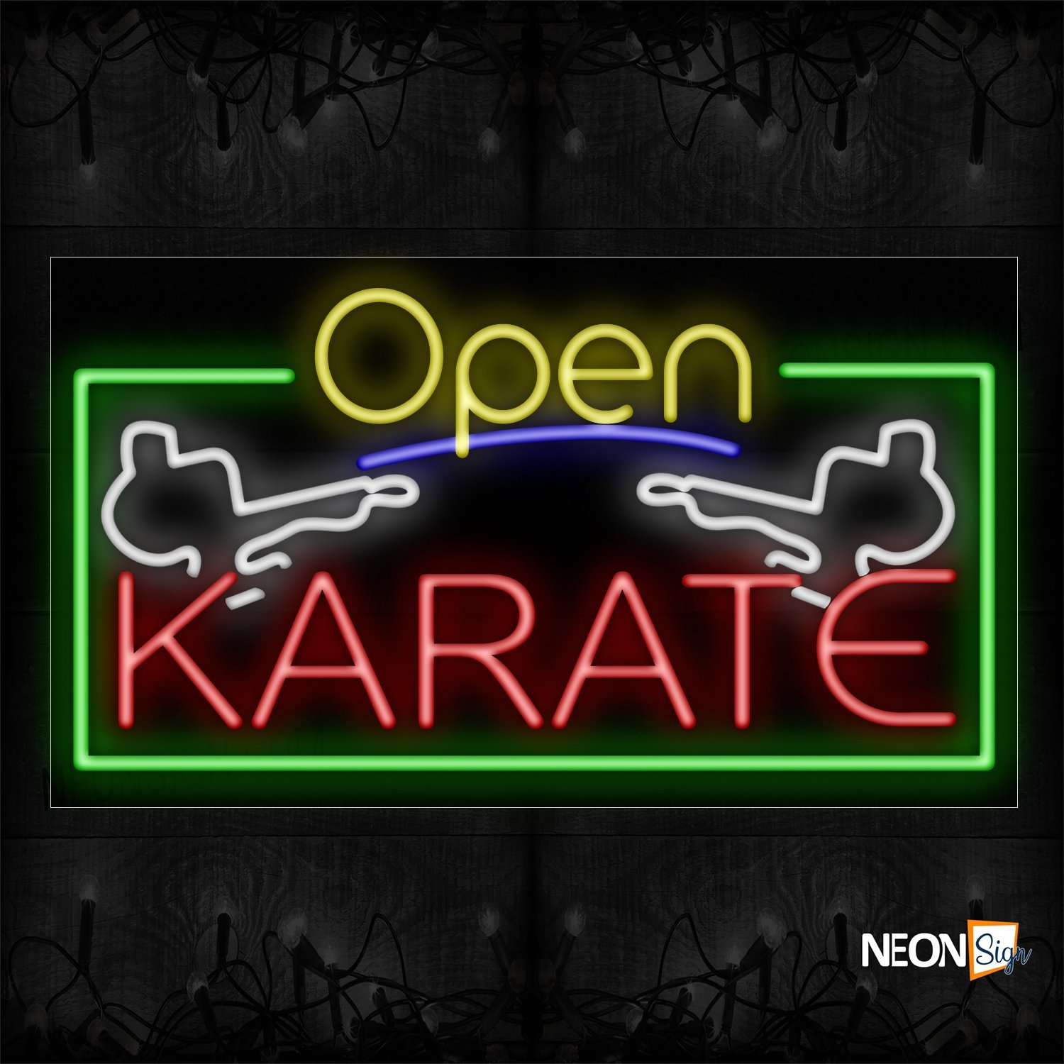 Image of 15527 Open Karate With Green Border With Logo Neon Sign_20x37 Black Backing (1)