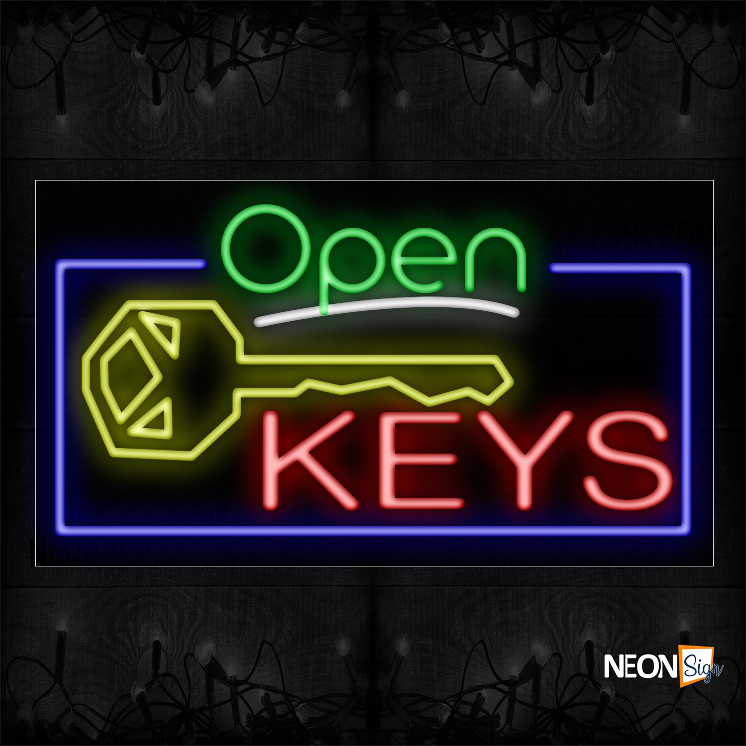 Image of 15528 Open Keys With Border Neon Sign_20x37 Black Backing
