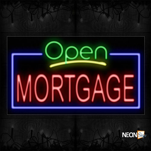 Image of 15537 Open Mortgage with blue border Neon Signs_20x37 Black Backing