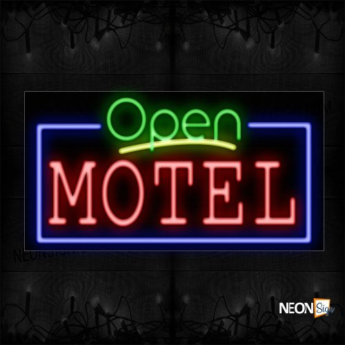 Image of 15538 Open Motel With Blue Border Neon Sign_20x37 Black Backing