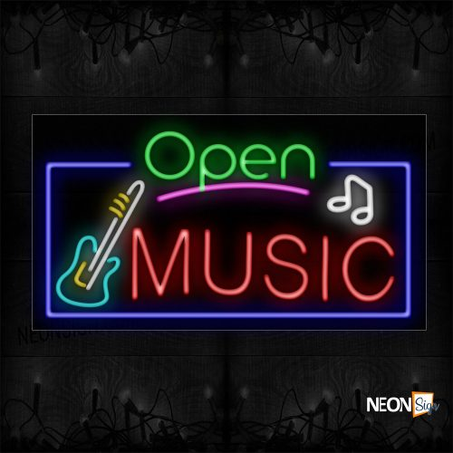 Image of 15540 Open Music With Logo And Blue Border Neon Sign_20x37 Black Backing