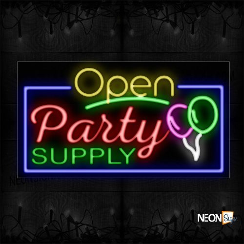 Image of 15545 Open Party Supply With Blue Border And Balloon Neon Sign_20x37 Black Backing